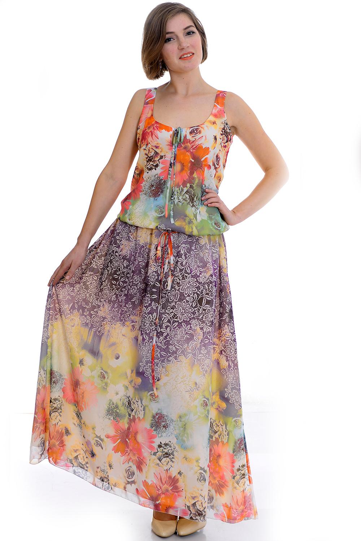 ПлатьеПлатья<br>Притягательное платье нежной расцветки из воздушного шифона.  Цвет: оранжевый, желтый, сиреневый, зеленый  Рост девушки-фотомодели 170 см<br><br>По образу: Город,Свидание<br>По стилю: Повседневный стиль<br>По материалу: Шифон<br>По рисунку: Цветные,Цветочные,Растительные мотивы,С принтом<br>По сезону: Лето<br>По силуэту: Полуприталенные<br>По форме: Платье - трапеция<br>По длине: Макси<br>Рукав: Без рукавов<br>Размер: 44,46,48<br>Материал: 65% вискоза 35% полиэстер<br>Количество в наличии: 1