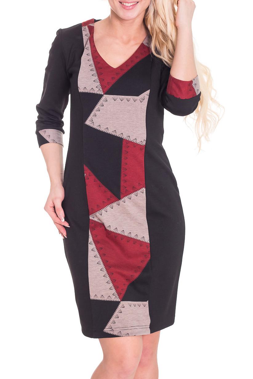 ПлатьеПлатья<br>Чудесное женское платье приталенного силуэта со вставкой из ткани контрастного цвета по переду изделия. Рукава 3/4 на манжетах. Цвет: черный, бежевый, красный  Рост девушки-фотомодели 170 см<br><br>Горловина: V- горловина<br>По длине: До колена<br>По материалу: Вискоза,Трикотаж<br>По рисунку: Абстракция,С принтом,Цветные<br>По сезону: Весна,Осень,Зима<br>По силуэту: Приталенные<br>По стилю: Повседневный стиль<br>По форме: Платье - футляр<br>По элементам: С манжетами<br>Рукав: Рукав три четверти<br>Размер : 44,46<br>Материал: Джерси<br>Количество в наличии: 2