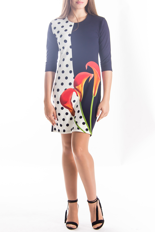 ПлатьеПлатья<br>Прекрасное платье с круглой горловиной и рукавами 3/4. Модель выполнена из приятного трикотажа. Отличный выбор для повседневного гардероба.  Цвет: белый, синий, коралловый, зеленый, желтый  Длина по спинке: 44 размер - 88 см 46 размер - 89 см 48 размер - 90 см 50 размер - 91 см 52 размер - 92 см 54 размер - 93 см  Длина рукава: 44 размер - 38 см 46 размер - 38 см 48 размер - 37 см 50 размер - 37 см 52 размер - 37 см 54 размер - 37 см<br><br>Горловина: С- горловина<br>По длине: До колена<br>По образу: Город,Свидание<br>По рисунку: В горошек,Растительные мотивы,Цветные,Цветочные<br>По сезону: Весна,Осень<br>По силуэту: Полуприталенные<br>По стилю: Повседневный стиль<br>По форме: Платье - футляр<br>Рукав: Рукав три четверти<br>Размер : 44,46,48<br>Материал: Трикотаж<br>Количество в наличии: 3