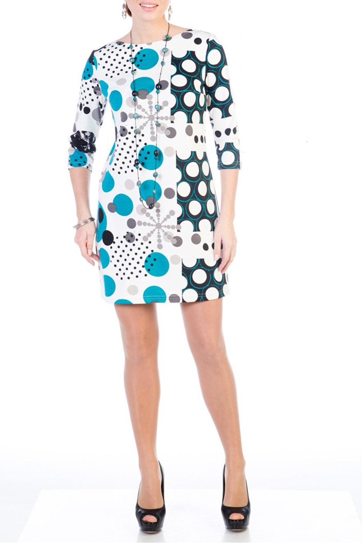 ПлатьеПлатья<br>Женское платье с круглой горловиной и рукавами 3/4. Модель выполнена из приятного материала. Отличный выбор для повседневного гардероба.  Цвет: белый, голубой, серый<br><br>Горловина: С- горловина<br>По длине: До колена<br>По материалу: Вискоза,Трикотаж<br>По рисунку: Цветные,Геометрия,С принтом<br>По сезону: Весна,Осень,Зима<br>По силуэту: Полуприталенные<br>По стилю: Повседневный стиль<br>По форме: Платье - футляр<br>Рукав: Рукав три четверти<br>Размер : 44,46,48<br>Материал: Джерси<br>Количество в наличии: 5