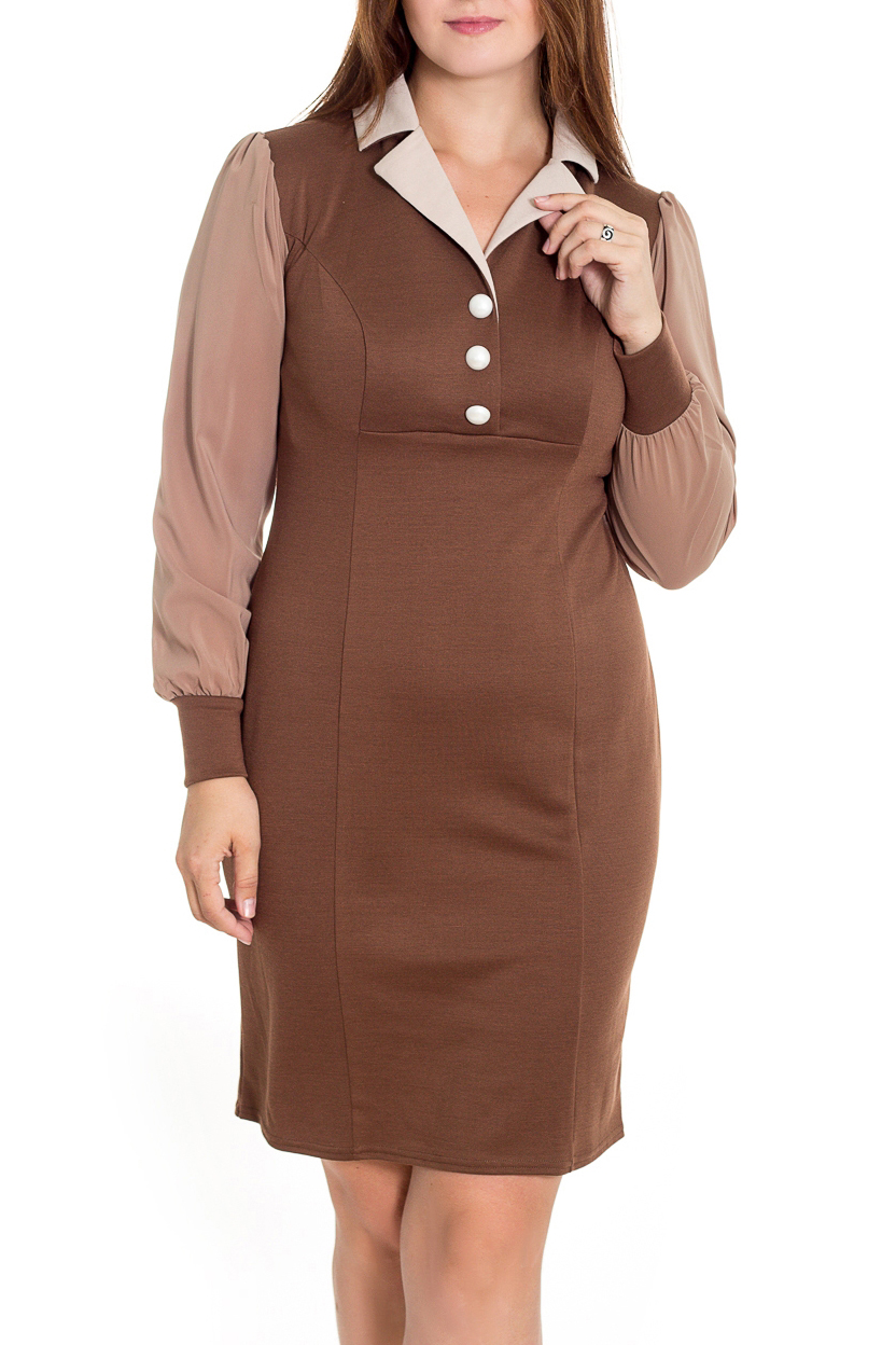ПлатьеПлатья<br>Повседневное платье из трикотажа в классическом стиле. Платье с пиджачным воротником, выделенным контрастным цветом материала, и имитацией застежки на 3 пуговицы. Рукава из шифона, длинные, на манжете, со сборкой по низу и окату.  В изделии использованы цвета: бежевый, светло-коричневый  Рост девушки-фотомодели 180 см<br><br>Воротник: Отложной<br>Горловина: V- горловина<br>По длине: До колена<br>По материалу: Трикотаж,Шифон<br>По образу: Город<br>По рисунку: Цветные<br>По силуэту: Приталенные<br>По стилю: Повседневный стиль,Винтаж,Классический стиль<br>По форме: Платье - футляр<br>По элементам: С манжетами,С отделочной фурнитурой,С декором<br>Рукав: Длинный рукав<br>По сезону: Осень,Весна<br>Размер : 48,50,52,54<br>Материал: Джерси + Шифон<br>Количество в наличии: 4