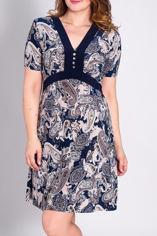 ПлатьеПлатья<br>Замечательное платье с короткими рукавами и V-образным вырезом горловины. Модель выполнена из тонкого трикотажа. Отличный выбор для повседневного гардероба.  Цвет: синий, бежевый, коричневый  Рост девушки-фотомодели 180 см<br><br>Горловина: V- горловина<br>По длине: До колена<br>По материалу: Вискоза,Трикотаж<br>По рисунку: Абстракция,Цветные<br>По силуэту: Полуприталенные<br>По стилю: Повседневный стиль<br>По форме: Платье - трапеция<br>По элементам: С декором<br>Рукав: Короткий рукав<br>По сезону: Лето<br>Размер : 46,48,54<br>Материал: Холодное масло<br>Количество в наличии: 4