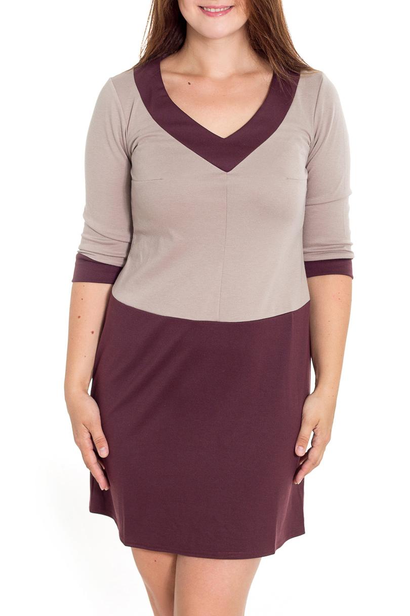 ПлатьеПлатья<br>Молодежное платье на пониженной талии и чуть расклешенной юбкой. Горловина с глубоким V-образным вырезом, отороченным широкой контрастной кокеткой. Рукав длиной 3/4 на манжете.   Длина до 48 размера - 85 см., после 50 размера - 90 см.   В изделии использованы цвета: бежевый, бордово-коричневый  Рост девушки-фотомодели 180 см.<br><br>Горловина: V- горловина<br>По длине: До колена<br>По материалу: Вискоза,Трикотаж<br>По рисунку: Цветные<br>По силуэту: Полуприталенные<br>По стилю: Повседневный стиль<br>По форме: Платье - трапеция<br>По элементам: С манжетами<br>Рукав: Рукав три четверти<br>По сезону: Осень,Весна,Зима<br>Размер : 46,48,50,52,54<br>Материал: Джерси<br>Количество в наличии: 5