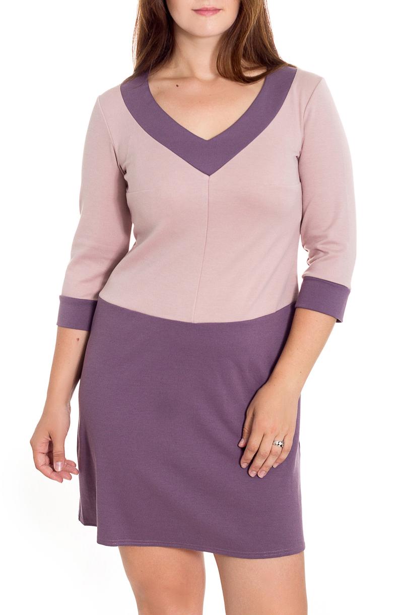 ПлатьеПлатья<br>Молодежное платье на пониженной талии и чуть расклешенной юбкой. Горловина с глубоким V-образным вырезом, отороченным широкой контрастной кокеткой. Рукав длиной 3/4 на манжете.   Длина до 48 размера - 85 см., после 50 размера - 90 см.   В изделии использованы цвета: розовый, сиреневый  Рост девушки-фотомодели 180 см.<br><br>Горловина: V- горловина<br>По длине: До колена<br>По материалу: Вискоза,Трикотаж<br>По рисунку: Цветные<br>По силуэту: Полуприталенные<br>По стилю: Повседневный стиль<br>По форме: Платье - трапеция<br>По элементам: С манжетами<br>Рукав: Рукав три четверти<br>По сезону: Осень,Весна,Зима<br>Размер : 46,48,50,52,54<br>Материал: Джерси<br>Количество в наличии: 5