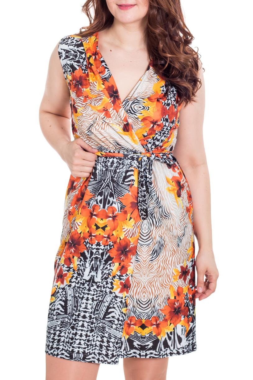 ПлатьеПлатья<br>Чудесное летнее платье. Модель выполнена из мягкой вискозы. Отличный выбор для повседневного гардероба. Платье без пояса.  Цвет: черный, белый, оранжевый  Ростовка изделия 164 см.  Рост девушки-фотомодели 180 см<br><br>Горловина: V- горловина,Запах<br>По длине: До колена<br>По материалу: Трикотаж<br>По образу: Город,Свидание<br>По рисунку: Абстракция,Растительные мотивы,С принтом,Цветные,Цветочные<br>По сезону: Весна,Лето<br>По силуэту: Полуприталенные<br>По стилю: Повседневный стиль<br>По форме: Платье - футляр<br>Рукав: Без рукавов<br>Размер : 48,50<br>Материал: Холодное масло<br>Количество в наличии: 2
