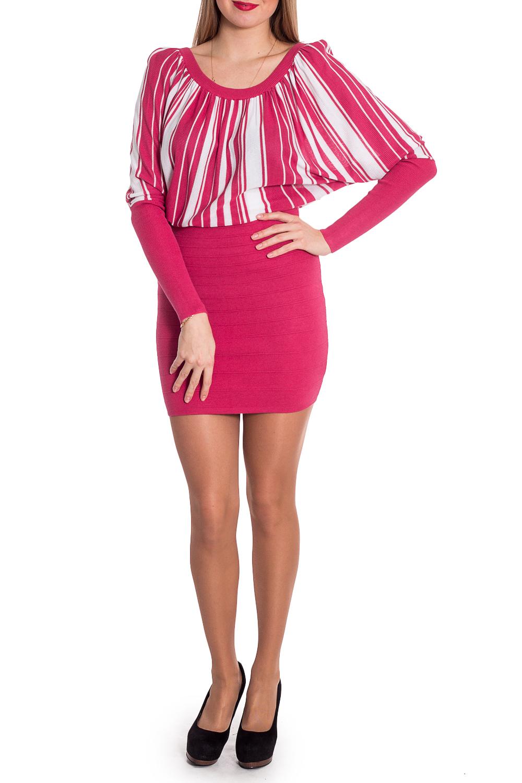 ПлатьеПлатья<br>Интересное платье с небольшим напуском в районе талии. Модель выполнена из приятного трикотажа. Отличный выбор для повседневного гардероба. Ростовка изделия 164-170 см.  В изделии использованы цвета: розовый, белый  Рост девушки-фотомодели 170 см.<br><br>Горловина: С- горловина<br>По длине: До колена<br>По материалу: Трикотаж<br>По рисунку: В полоску,С принтом,Цветные<br>По сезону: Зима,Осень,Весна<br>По силуэту: Полуприталенные<br>По стилю: Повседневный стиль<br>По форме: Платье - футляр<br>Рукав: Длинный рукав<br>Размер : 46<br>Материал: Трикотаж<br>Количество в наличии: 1