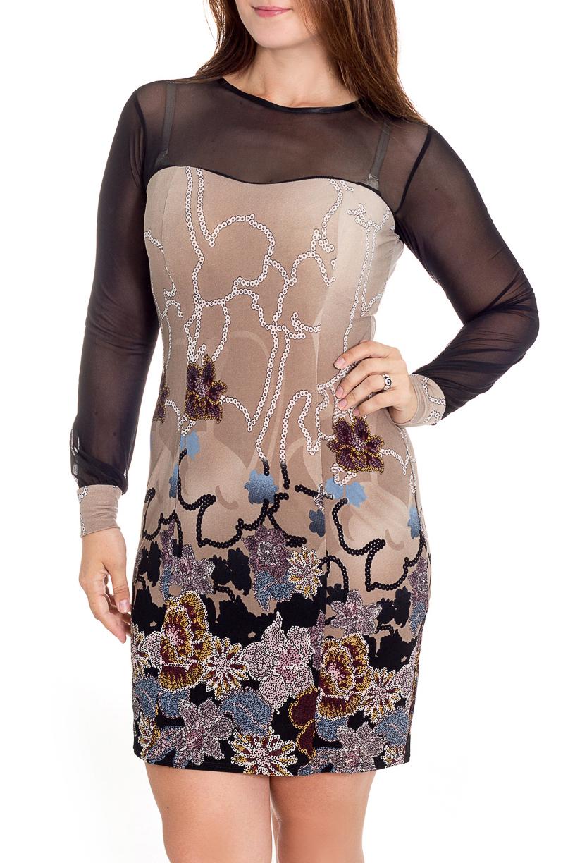 ПлатьеПлатья<br>Классическое платье для торжеств - верх выполнен из гипюра, основа из мягкой вискозы.  В изделии использованы цвета: бежевый, черный и др.  Рост девушки-фотомодели 180 см<br><br>Горловина: С- горловина<br>По длине: До колена<br>По материалу: Вискоза,Гипюровая сетка<br>По образу: Свидание<br>По рисунку: Растительные мотивы,С принтом,Цветные,Цветочные<br>По сезону: Всесезон,Зима,Лето,Осень,Весна<br>По силуэту: Приталенные<br>По стилю: Повседневный стиль<br>По форме: Платье - футляр<br>По элементам: С декором,С манжетами,С отделочной фурнитурой<br>Рукав: Длинный рукав<br>Размер : 46,48,50<br>Материал: Вискоза + Гипюровая сетка<br>Количество в наличии: 2