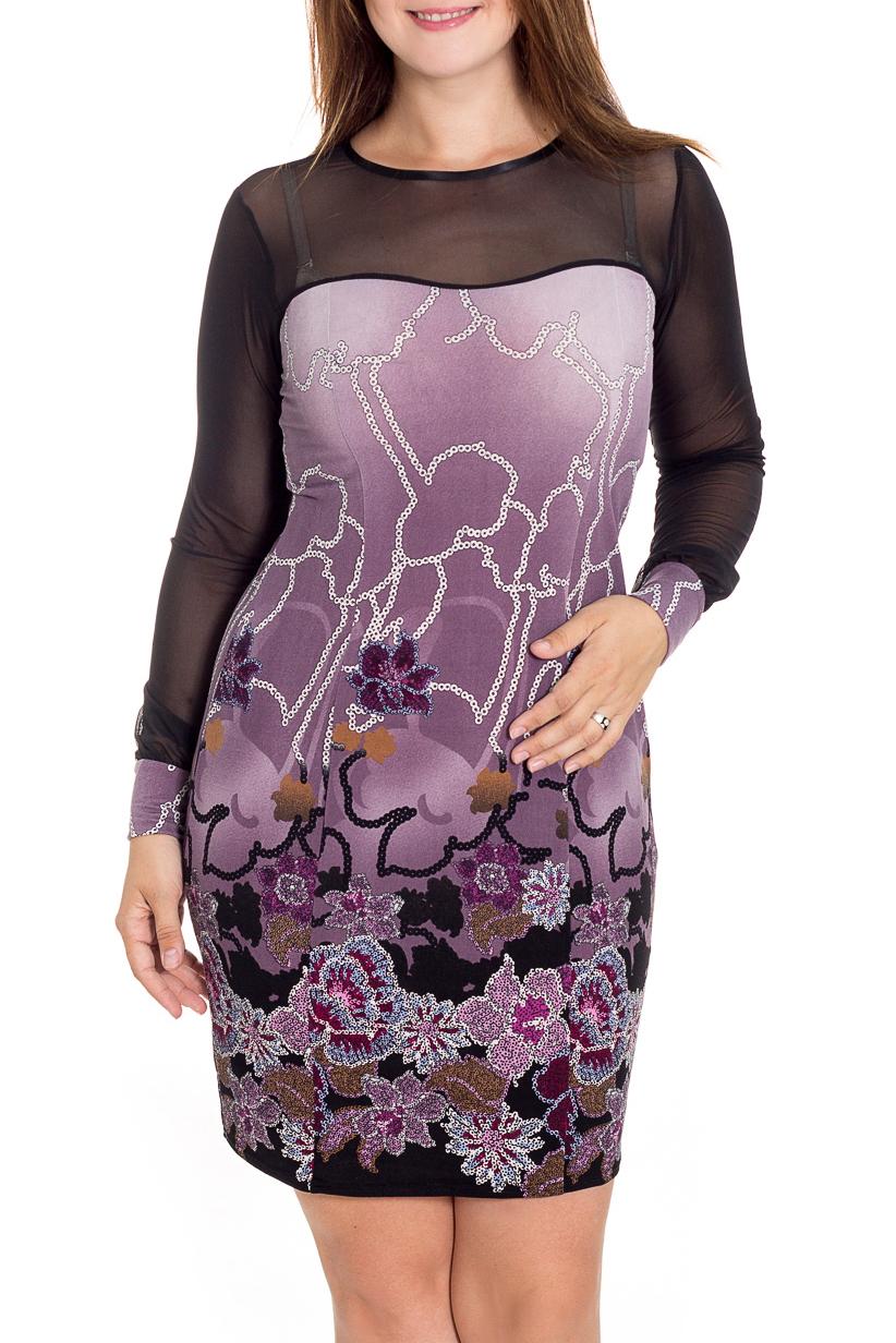 ПлатьеПлатья<br>Классическое платье для торжеств - верх выполнен из гипюра, основа из мягкой вискозы.  В изделии использованы цвета: сиреневый, черный и др.  Рост девушки-фотомодели 180 см<br><br>Горловина: С- горловина<br>По длине: До колена<br>По материалу: Вискоза,Гипюровая сетка<br>По рисунку: Растительные мотивы,С принтом,Цветные,Цветочные<br>По сезону: Всесезон,Зима,Лето,Осень,Весна<br>По силуэту: Приталенные<br>По стилю: Повседневный стиль<br>По форме: Платье - футляр<br>По элементам: С декором,С манжетами,С отделочной фурнитурой<br>Рукав: Длинный рукав<br>Размер : 46<br>Материал: Вискоза + Гипюровая сетка<br>Количество в наличии: 1