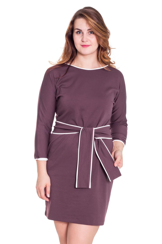 ПлатьеПлатья<br>Замечательное платье с контрастной отделкой. Модель выполнена из плотного трикотажа. Отличный выбор для повседневного гардероба. Платье дополнено поясом.  Цвет: коричневый, белый  Рост девушки-фотомодели 180 см.<br><br>По образу: Свидание,Город,Офис<br>По стилю: Офисный стиль,Повседневный стиль<br>По материалу: Вискоза,Трикотаж<br>По рисунку: Однотонные<br>По сезону: Весна,Осень<br>По силуэту: Полуприталенные<br>По элементам: С поясом<br>По форме: Платье - футляр<br>По длине: До колена<br>Рукав: Рукав три четверти<br>Горловина: С- горловина<br>Размер: 48,50,52,54<br>Материал: 50% вискоза 45% полиэстер 5% эластан<br>Количество в наличии: 4