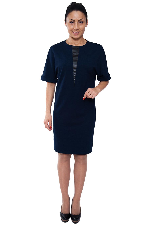 ПлатьеПлатья<br>Лаконичное платье с круглой горловиной и рукавами до локтя. Модель выполнена из плотного трикотажа однотонной расцветки. Отличный выбор для повседневного и делового гардероба.  Тунику можно носить как платье-мини.  Цвет: синий  Рост девушки-фотомодели 164 см.<br><br>По образу: Свидание,Город,Офис<br>По стилю: Офисный стиль,Повседневный стиль<br>По материалу: Вискоза,Трикотаж<br>По рисунку: Однотонные<br>По сезону: Зима<br>По силуэту: Прямые,Свободные<br>По форме: Платье - трапеция<br>По длине: Ниже колена<br>Рукав: До локтя<br>Горловина: С- горловина<br>Размер: 44,46,48,50,52,54<br>Материал: 65% вискоза 30% полиэстер 5% эластан<br>Количество в наличии: 1