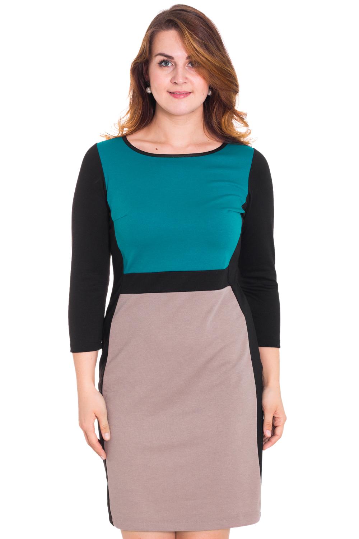 ПлатьеПлатья<br>Прелестное платье с круглой горловиной и длинными рукавами. Модель выполнена из приятного трикотажа. Отличный выбор для повседневного гардероба. Ростовка изделия 164 см.  Цвет: черный, бежевый, бирюзовый  Рост девушки-фотомодели 180 см.<br><br>Горловина: С- горловина<br>По длине: До колена<br>По материалу: Трикотаж<br>По образу: Город,Офис<br>По рисунку: Цветные<br>По силуэту: Полуприталенные<br>По стилю: Офисный стиль,Повседневный стиль<br>По форме: Платье - футляр<br>Рукав: Длинный рукав<br>По сезону: Осень,Весна<br>Размер : 58<br>Материал: Трикотаж<br>Количество в наличии: 1