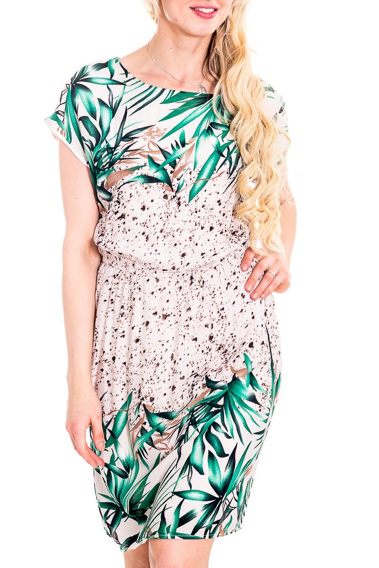 ПлатьеПлатья<br>Яркое платье с короткими рукавами. Модель выполнена из приятного материала. Отличный выбор для повседневного гардероба.  В изделии использованы цвета: бежевый, зеленый, коричневый и др.  Рост девушки-фотомодели 170 см<br><br>Горловина: С- горловина<br>По длине: До колена<br>По материалу: Вискоза<br>По рисунку: Растительные мотивы,С принтом,Цветные<br>По силуэту: Полуприталенные<br>По стилю: Повседневный стиль,Летний стиль<br>Рукав: Короткий рукав<br>По сезону: Лето<br>Размер : 42,44<br>Материал: Вискоза<br>Количество в наличии: 2