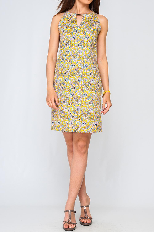 ПлатьеПлатья<br>Цветное платье с декоративной quot;капелькойquot;. Модель выполнена из хлопкового материала. Отличный выбор для летнего гардероба.  Параметры изделия:  46 размер: обхват груди - 96 см. обхват по линии бедер - 105 см. 50 размер: обхват груди - 104 см. обхват по линии бедер - 113 см.  Цвет: желтый, мультицвет  Рост девушки-фотомодели 170 см<br><br>Горловина: С- горловина<br>По материалу: Хлопок<br>По рисунку: С принтом,Цветные,Этнические<br>По силуэту: Полуприталенные<br>По стилю: Летний стиль,Повседневный стиль<br>По форме: Платье - футляр<br>По элементам: С декором<br>Рукав: Без рукавов<br>По сезону: Лето<br>По длине: До колена<br>Размер : 42,44<br>Материал: Хлопок<br>Количество в наличии: 3