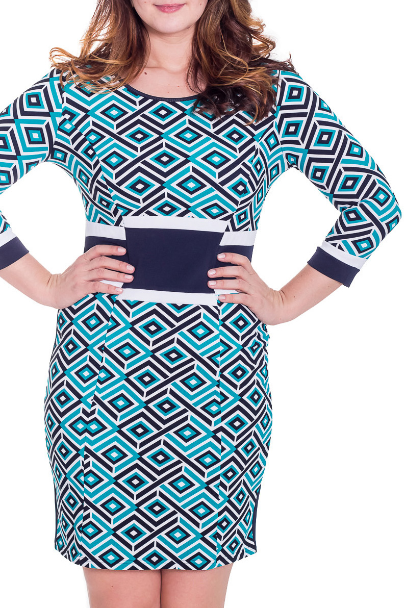 ПлатьеПлатья<br>Классическое женское платье приталенного силуэта с рукавом 3/4. Модель выполнена из приятного трикотажа. Отличный выбор для повседневного гардероба.  Цвет: голубой, синий, белый  Рост девушки-фотомодели 180 см<br><br>Горловина: С- горловина<br>По длине: До колена<br>По материалу: Вискоза,Трикотаж<br>По рисунку: Абстракция,Цветные,С принтом<br>По силуэту: Приталенные<br>По стилю: Повседневный стиль<br>По форме: Платье - футляр<br>Рукав: Рукав три четверти<br>По сезону: Осень,Весна,Зима<br>Размер : 46,48,52,54<br>Материал: Трикотаж<br>Количество в наличии: 4