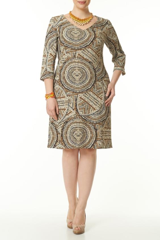 ПлатьеПлатья<br>Великолепное платье свободного кроя с оригинальным принтом займет достойное место в вашем гардеробе. Такое платье легко скроет некоторые недостатки фигуры. Его можно носить как с пояском, так и без него  В изделии использованы цвета: бежевый, коричневый и др.  Ростовка изделия 170 см.<br><br>Горловина: V- горловина<br>По длине: До колена<br>По материалу: Вискоза,Тканевые<br>По образу: Город,Свидание<br>По рисунку: Абстракция,С принтом,Цветные<br>По силуэту: Полуприталенные<br>По стилю: Повседневный стиль<br>Рукав: Рукав три четверти<br>По сезону: Осень,Весна,Зима<br>Размер : 46,48,50,52,54,56<br>Материал: Плательная ткань<br>Количество в наличии: 12