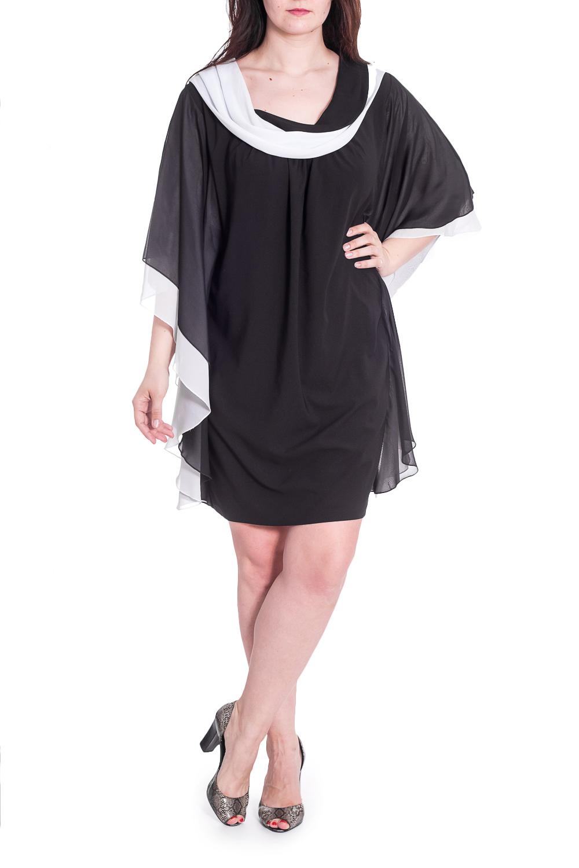 ПлатьеПлатья<br>Нарядное женское платье свободного силуэта с рукавами до локтя. Модель выполнена из  воздушного шифона. Отличный выбор для любого случая. Ростовка изделия 158 см.  В изделии использованы цвета: черный, белый  Рост девушки-фотомодели 180 см.<br><br>Воротник: Отложной<br>Горловина: С- горловина<br>По длине: Ниже колена<br>По материалу: Шифон<br>По рисунку: Цветные<br>По сезону: Весна,Зима,Лето,Осень,Всесезон<br>По силуэту: Свободные<br>По стилю: Вечерний стиль,Нарядный стиль<br>Рукав: До локтя<br>Размер : 68<br>Материал: Шифон<br>Количество в наличии: 1