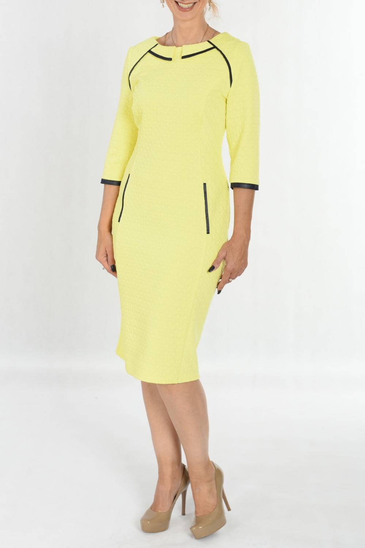 ПлатьеПлатья<br>Удивительно яркое платье Созданное из мягчайшего трикотажа, оно нравится буквально всем Кожаная отделка в контрасте подчеркивает детали кроя и фигуры. По спинке шлица.  В изделии использованы цвета: желтый, черный  Ростовка изделия 170 см.<br><br>Горловина: С- горловина<br>По длине: Ниже колена<br>По материалу: Трикотаж<br>По рисунку: Однотонные<br>По силуэту: Полуприталенные<br>По стилю: Повседневный стиль<br>По форме: Платье - футляр<br>По элементам: С декором<br>Рукав: Рукав три четверти<br>По сезону: Осень,Весна,Зима<br>Размер : 46<br>Материал: Трикотаж<br>Количество в наличии: 2