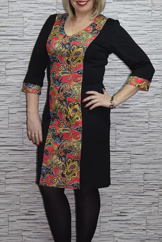 ПлатьеПлатья<br>Чудесное женское платье приталенного силуэта со вставкой из ткани контрастного цвета по переду изделия. Рукава 3/4 на манжетах. Цвет: черный, красный, желтый.  Рост девушки-фотомодели 165 см<br><br>По длине: До колена<br>По материалу: Вискоза,Трикотаж<br>По рисунку: Абстракция,Растительные мотивы,С принтом,Цветные<br>По сезону: Весна,Осень,Зима<br>По силуэту: Приталенные<br>По стилю: Повседневный стиль<br>По форме: Платье - футляр<br>По элементам: С декором,С манжетами<br>Рукав: Рукав три четверти<br>Размер : 44,46<br>Материал: Джерси<br>Количество в наличии: 2