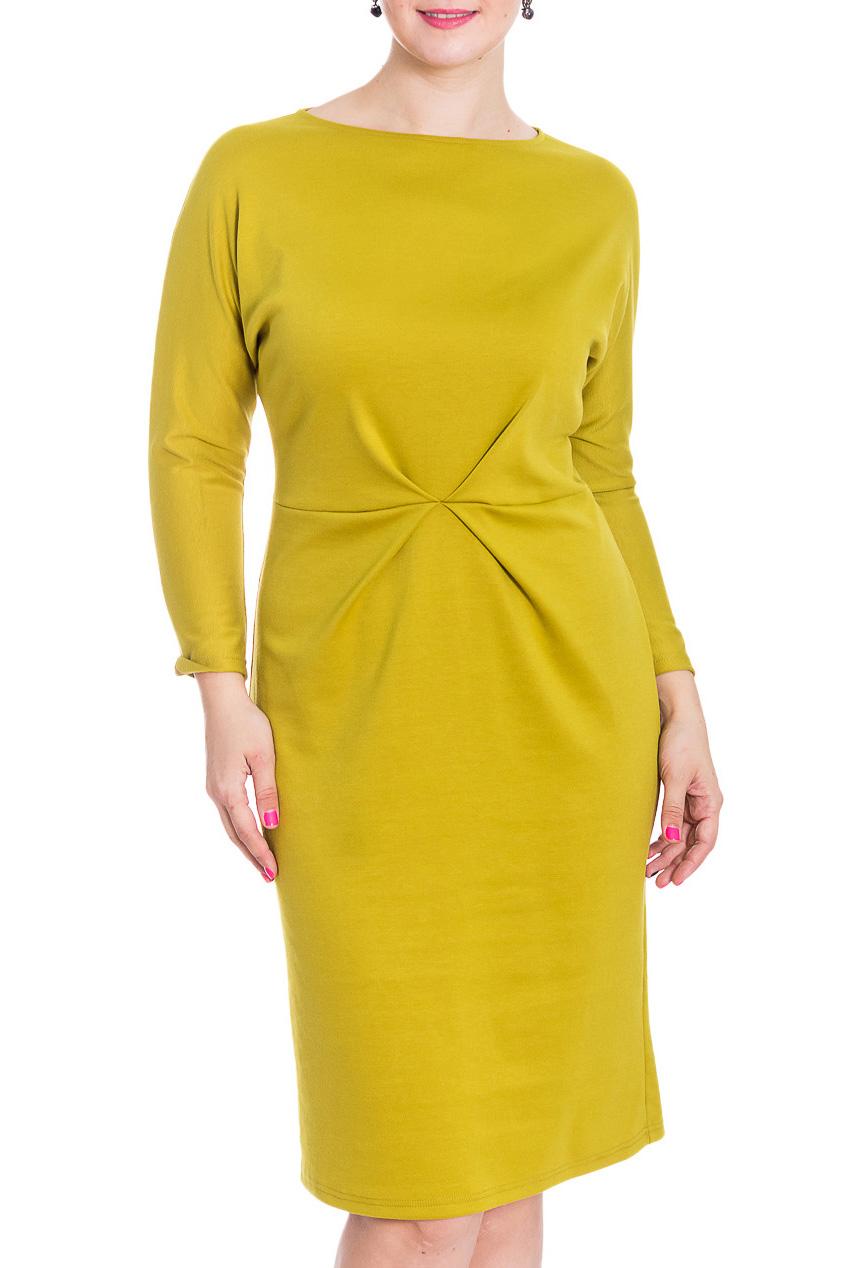 ПлатьеПлатья<br>Эффектное повседневное платье лимонного цвета. Модель выполнена из приятного трикотажа. Отличный выбор для повседневного гардероба.  В изделии использованы цвета: зелено-желтый  Рост девушки-фотомодели 180 см<br><br>Горловина: С- горловина<br>По длине: Ниже колена<br>По материалу: Трикотаж<br>По рисунку: Однотонные<br>По силуэту: Полуприталенные<br>По стилю: Повседневный стиль<br>По форме: Платье - футляр<br>По элементам: С декором,С разрезом,Со складками<br>Разрез: Короткий<br>Рукав: Длинный рукав<br>По сезону: Осень,Весна,Зима<br>Размер : 48,52,54<br>Материал: Трикотаж<br>Количество в наличии: 3
