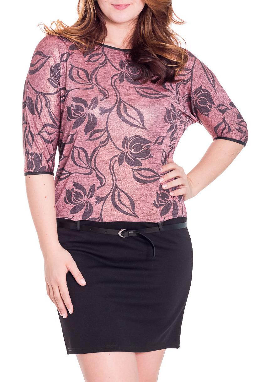 ПлатьеПлатья<br>Красивое женское платье с круглой горловиной и рукавами 3/4. Модель выполнена из приятного трикотажа. Отличный выбор для повседневного гардероба.  Пояс в комплект не входит   Цвет: розовый, черный  Рост девушки-фотомодели 180 см.<br><br>Горловина: С- горловина<br>По длине: До колена<br>По материалу: Вискоза,Трикотаж<br>По рисунку: Растительные мотивы,Цветные,Цветочные<br>По сезону: Весна,Осень,Зима<br>По силуэту: Полуприталенные<br>По стилю: Повседневный стиль<br>По форме: Платье - футляр<br>По элементам: С декором<br>Рукав: Рукав три четверти<br>Размер : 46,48,50,52,54,56<br>Материал: Трикотаж<br>Количество в наличии: 10