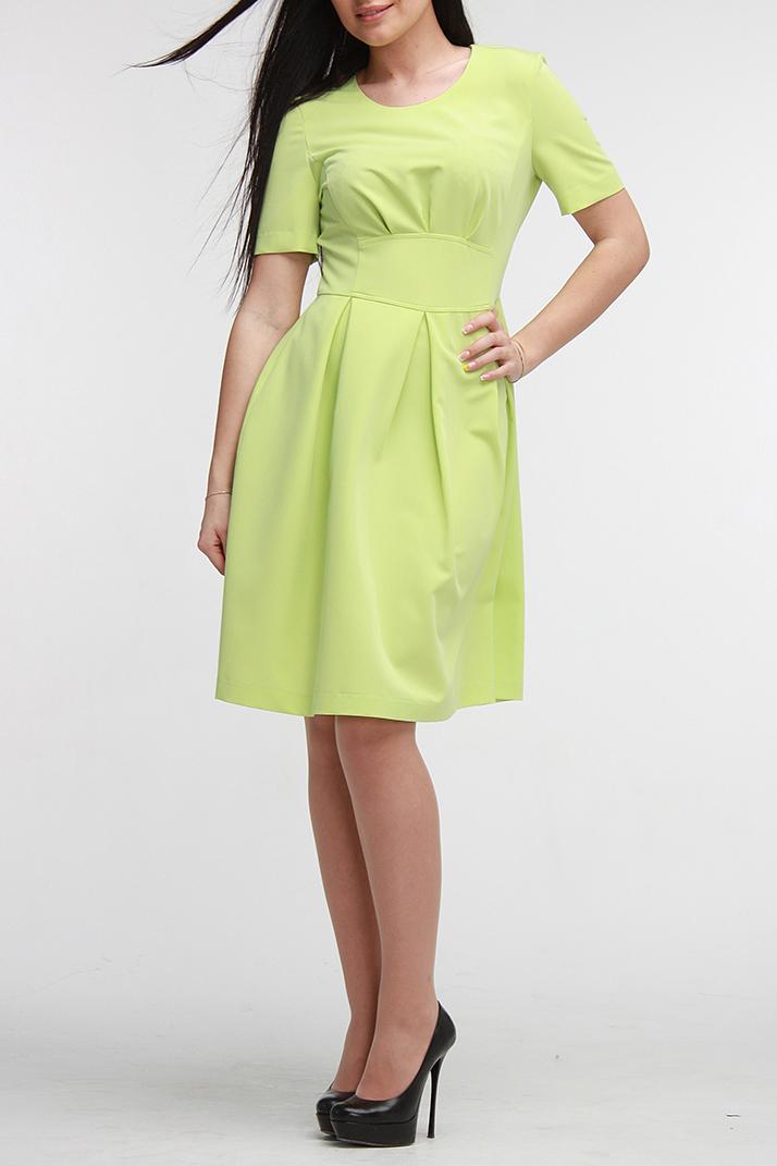ПлатьеПлатья<br>Прекрасное платье приталенного силуэта с юбкой в мягкую складку. Оно выполнено из легкой однотонной плательной ткани и прекрасно подойдет на каждый день. Горловина обработана обтачкой, рукав до локтя, достоинства фигуры подчеркивает деталь пояса и защипы под грудью. На спинке молния, длинной 50 см. В этом платье Вы очаровательны   Цвет: салатовый  Рост девушки-фотомодели 172 см<br><br>По образу: Свидание,Город<br>По стилю: Повседневный стиль<br>По материалу: Костюмные ткани,Тканевые<br>По рисунку: В полоску,Однотонные,С принтом<br>По сезону: Осень,Весна<br>По силуэту: Полуприталенные<br>По элементам: Со складками<br>По форме: Платье - трапеция<br>По длине: До колена<br>Рукав: До локтя<br>Горловина: С- горловина<br>Размер: 46,48,50,52<br>Материал: 60% полиэстер 35% вискоза 5% эластан<br>Количество в наличии: 2