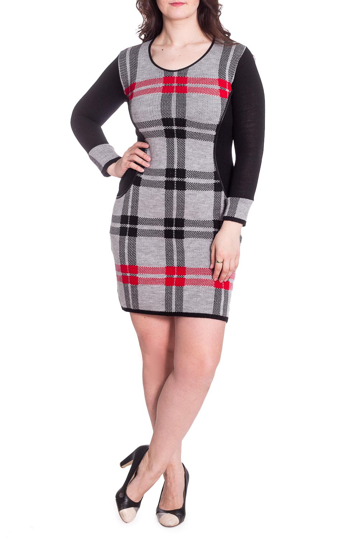 ПлатьеПлатья<br>Цветное платье с круглой горловиной и длинными рукавами. Модель выполнена из приятного материала. Отличный выбор для повседневного гардероба.  В изделии использованы цвета: серый, черный, красный  Рост девушки-фотомодели 180 см<br><br>Горловина: С- горловина<br>По длине: До колена<br>По материалу: Вязаные,Трикотаж<br>По рисунку: В клетку,С принтом,Цветные<br>По сезону: Осень,Зима<br>По силуэту: Приталенные<br>По стилю: Повседневный стиль<br>По форме: Платье - футляр<br>Рукав: Длинный рукав<br>Размер : 48<br>Материал: Вязаное полотно<br>Количество в наличии: 1