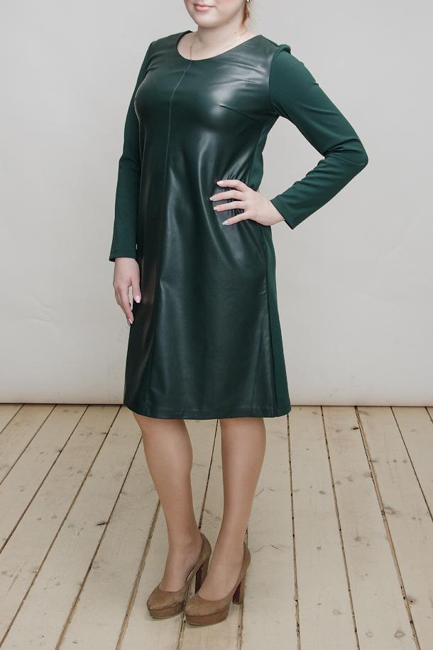 ПлатьеПлатья<br>Однотонное платье полуприталенного силуэта с круглой горловиной и длинными рукавами. Модель выполнена из плотного трикотажа и кожи. Отличный выбор для повседневного гардероба.  Цвет: зеленый  Длина изделия: 42 размер - 90 см 44 размер - 91 см 46 размер - 92 см 48 размер - 93 см  Рост девушки-фотомодели 164 см.<br><br>Горловина: С- горловина<br>По длине: До колена<br>По материалу: Трикотаж<br>По образу: Город,Свидание<br>По рисунку: Однотонные<br>По сезону: Осень,Зима<br>По силуэту: Полуприталенные<br>По стилю: Кэжуал,Повседневный стиль<br>По форме: Платье - трапеция<br>Рукав: Длинный рукав<br>Размер : 42,46,48<br>Материал: Трикотаж + Искусственная кожа<br>Количество в наличии: 3