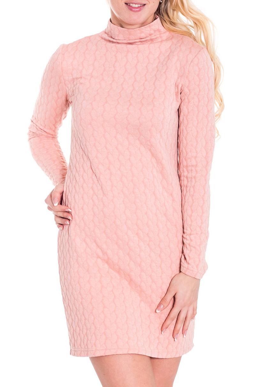 ПлатьеПлатья<br>Хорошенькое платье с длинными рукавами. Модель выполнена из приятного материала. Отличный выбор для любого случая.  Просим учесть, что изделие маломерит на один размер.  Цвет: розовый  Рост девушки-фотомодели 170 см.<br><br>Воротник: Стойка<br>По длине: До колена<br>По материалу: Вискоза,Трикотаж<br>По образу: Город,Свидание<br>По рисунку: Однотонные,Фактурный рисунок<br>По сезону: Весна,Осень<br>По силуэту: Полуприталенные<br>По стилю: Повседневный стиль<br>По форме: Платье - футляр<br>Рукав: Длинный рукав<br>Размер : 42,44,46,48<br>Материал: Трикотаж<br>Количество в наличии: 2