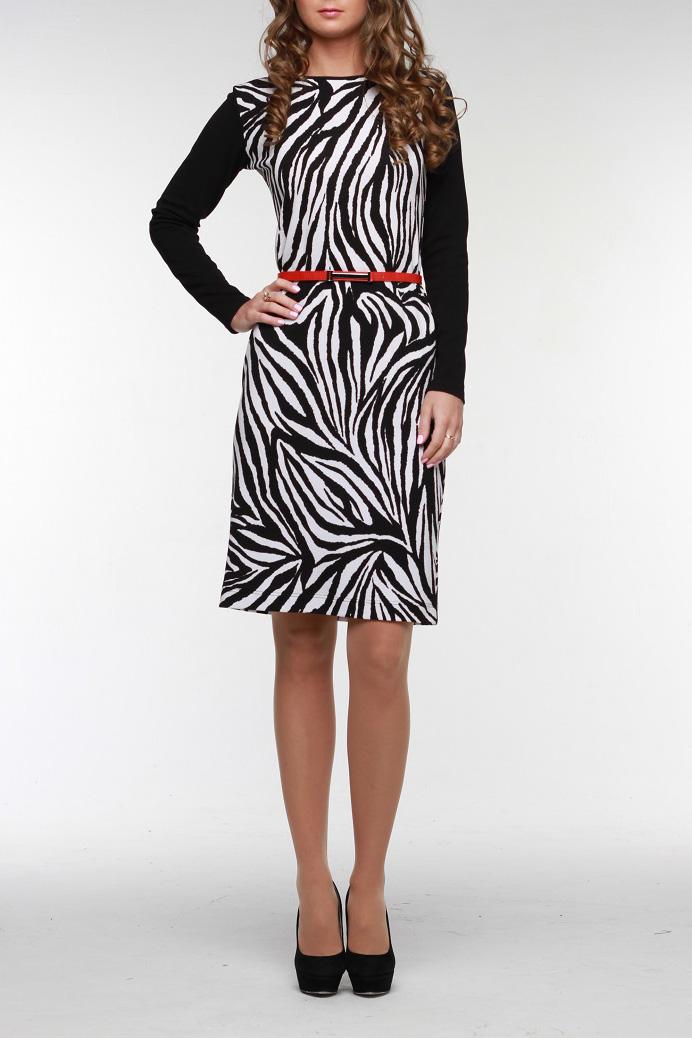 ПлатьеПлатья<br>Приталенное платье из мягкого трикотажа средней плотности с контрастным принтом «зебра». Длинный рукав и выполнен из однотонного трикотажа. Горловина обработана окантовкой. Прекрасный вариант для создания стильного образа. Платье без ремня.  Цвет: черный, белый  Рост девушки-фотомодели 176 см<br><br>Горловина: С- горловина<br>По длине: До колена<br>По материалу: Трикотаж<br>По образу: Город,Свидание<br>По рисунку: Животные мотивы,Зебра,С принтом,Цветные<br>По силуэту: Приталенные<br>По стилю: Повседневный стиль<br>По форме: Платье - футляр<br>Рукав: Длинный рукав<br>По сезону: Осень,Весна<br>Размер : 44,48,52,54,56<br>Материал: Трикотаж<br>Количество в наличии: 7