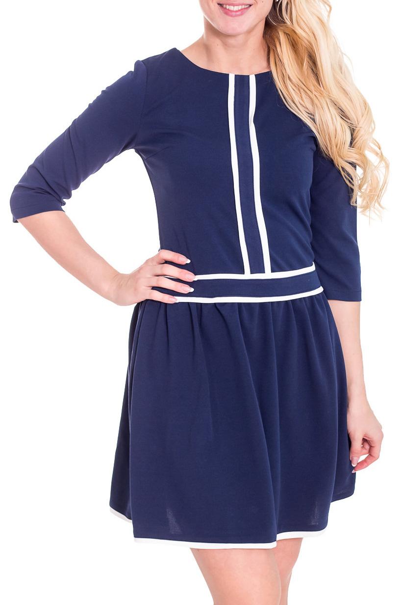 ПлатьеПлатья<br>Красивое платье с контрастным декором. Модель выполнена из приятного материала. Отличный выбор для повседневного гардероба.  Просим учесть, что изделие маломерит на один размер.  Цвет: синий, белый  Рост девушки-фотомодели 170 см.<br><br>Горловина: С- горловина<br>По длине: До колена<br>По материалу: Вискоза,Костюмные ткани<br>По образу: Город,Офис,Свидание<br>По рисунку: Цветные<br>По сезону: Весна,Осень<br>По силуэту: Полуприталенные<br>По стилю: Офисный стиль,Повседневный стиль<br>По форме: Платье - трапеция<br>По элементам: С декором<br>Рукав: Рукав три четверти<br>Размер : 42,44,46,48<br>Материал: Костюмно-плательная ткань<br>Количество в наличии: 4