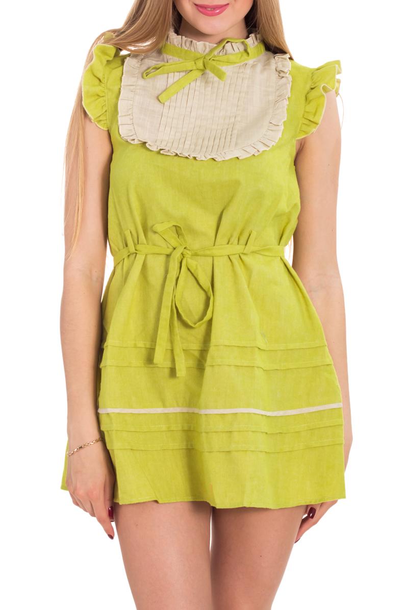 ПлатьеПлатья<br>Легкое, свободное платье с пояском на талии позволит почувствовать себя маленькой девочкой. Нарядное жабо с плиссировкой, рюши на верхней части проймы рукава и на воротнике-стоечке освежат ваш образ. Платье прекрасно подойдет для летних прогулок.  Цвет: салатовый, бежевый  Рост девушки-фотомодели 170 см.<br><br>Воротник: Стойка<br>По длине: Мини<br>По материалу: Тканевые<br>По образу: Город,Свидание<br>По рисунку: Цветные<br>По силуэту: Полуприталенные<br>По стилю: Винтаж,Повседневный стиль<br>По форме: Платье - трапеция<br>По элементам: С воланами и рюшами,С декором<br>Рукав: Без рукавов<br>По сезону: Лето<br>Размер : 42<br>Материал: Плательная ткань<br>Количество в наличии: 1