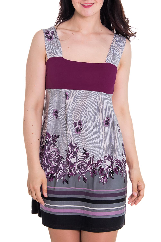 СарафанПлатья<br>Женский домашний сарафан на широких лямках. Домашняя одежда, прежде всего, должна быть удобной, практичной и красивой. В сарафане Вы будете чувствовать себя комфортно, особенно, по вечерам после трудового дня.  Цвет: серый, фиолетовый  Рост девушки-фотомодели 180 см.<br><br>Бретели: Широкие бретели<br>По материалу: Вискоза,Трикотаж<br>По рисунку: Цветные,С принтом<br>По силуэту: Полуприталенные<br>По форме: Сарафаны<br>По сезону: Лето<br>По длине: До колена<br>Рукав: Без рукавов<br>Размер : 44<br>Материал: Вискоза<br>Количество в наличии: 1