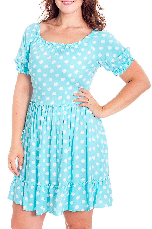 ПлатьеПлатья<br>Милое платье в горошек. Модель выполнена из мягкой вискозы. Отличный выбор для повседневного гардероба.  В изделии использованы цвета: голубой, белый  Рост девушки-фотомодели 180 см.<br><br>Горловина: С- горловина<br>По длине: До колена<br>По материалу: Вискоза<br>По рисунку: В горошек,С принтом,Цветные<br>По силуэту: Полуприталенные<br>По стилю: Винтаж,Повседневный стиль,Романтический стиль<br>По форме: Платье - трапеция<br>По элементам: С воланами и рюшами<br>Рукав: До локтя<br>По сезону: Лето<br>Размер : 40,50<br>Материал: Вискоза<br>Количество в наличии: 2
