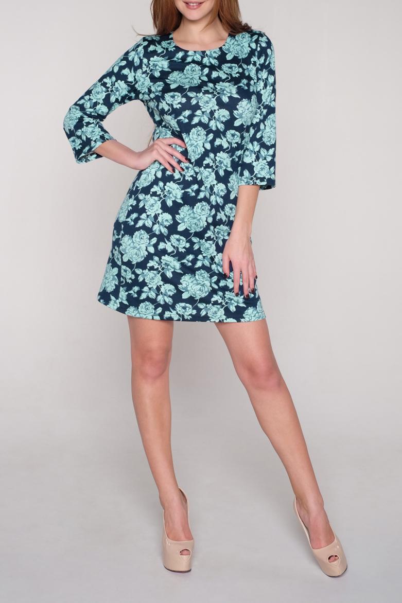 ПлатьеПлатья<br>Цветное платье с круглой горловиной и рукавами 3/4. Модель выполнена из приятного трикотажа. Отличный выбор для повседневного гардероба.  В изделии использованы цвета: синий, ментоловый  Ростовка изделия 170 см<br><br>Горловина: С- горловина<br>По длине: До колена<br>По материалу: Трикотаж<br>По рисунку: Растительные мотивы,С принтом,Цветные,Цветочные<br>По силуэту: Полуприталенные<br>По стилю: Повседневный стиль<br>По форме: Платье - трапеция<br>Рукав: Рукав три четверти<br>По сезону: Осень,Весна,Зима<br>Размер : 42,44,46,48,50<br>Материал: Джерси<br>Количество в наличии: 16