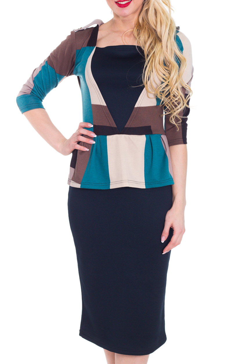 ПлатьеПлатья<br>Замечательное платье с фигурной горловиной и рукавами 3/4. Модель выполнена из приятного материала. Отличный выбор для повседневного гардероба.  Цвет: синий, голубой, бежевый, коричневый  Рост девушки-фотомодели 170 см.<br><br>По длине: Ниже колена<br>По материалу: Трикотаж<br>По образу: Город,Свидание<br>По рисунку: Цветные,Геометрия,С принтом<br>По сезону: Весна,Осень<br>По силуэту: Приталенные,Полуприталенные<br>По стилю: Повседневный стиль<br>По форме: Платье - футляр,Платье - карандаш<br>По элементам: С баской,С разрезом,С декором<br>Разрез: Шлица<br>Рукав: Рукав три четверти<br>Горловина: Квадратная горловина<br>Размер : 44<br>Материал: Джерси<br>Количество в наличии: 1