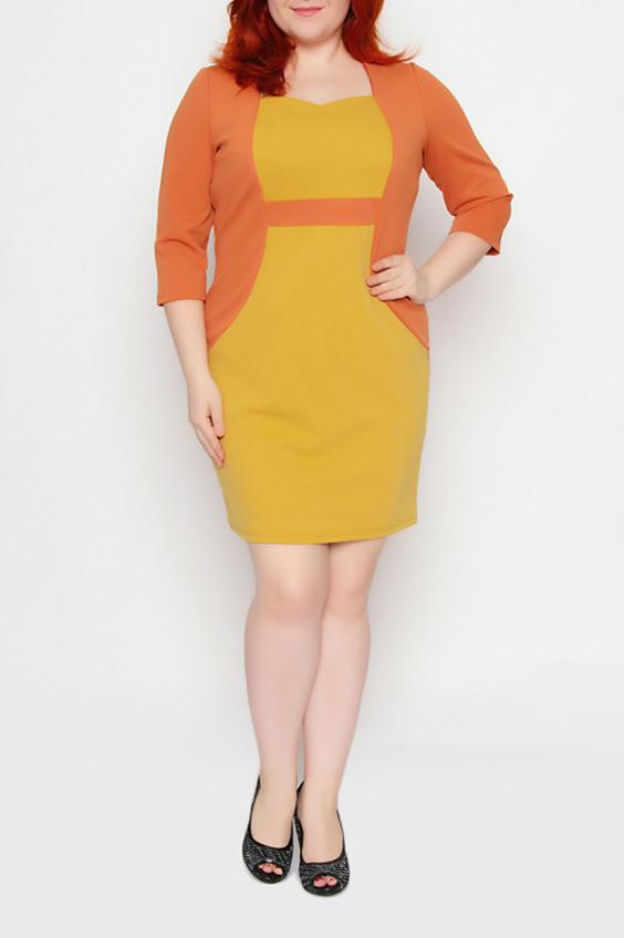 ПлатьеПлатья<br>Яркое платье полуприталенного силуэта с фигурной горловиной и рукавами 3/4. Модель выполнена из приятного трикотажа. Отличный выбор для повседневного гардероба.  Цвет: желтый, оранжевый  Ростовка изделия 170 см.<br><br>По длине: До колена<br>По материалу: Трикотаж<br>По рисунку: Цветные<br>По силуэту: Приталенные<br>По стилю: Повседневный стиль<br>По форме: Платье - футляр<br>Рукав: Рукав три четверти<br>По сезону: Осень,Весна,Зима<br>Горловина: Фигурная горловина<br>Размер : 52,54,56<br>Материал: Трикотаж<br>Количество в наличии: 3