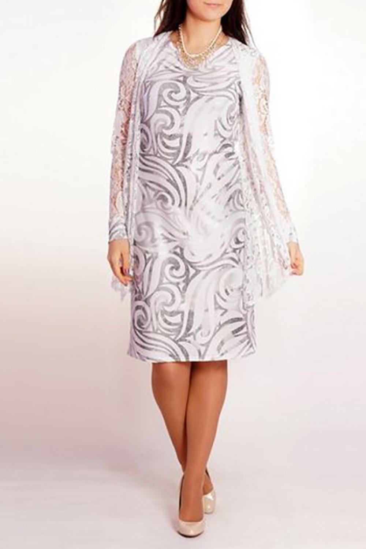 ПлатьеПлатья<br>Необычное, нарядное платье с имитацией двухслойности. На полочке широкие гипюровые полы, имитирующие жилет, каскадом спадают вниз. На спинке глубокая кокетка из гипюра и расклешенная гипюровая баска в области бедер дополняют и уравновешивают полочку. Рукава длинные из гипюра на манжете. Изделие без подклада.  Длина до 48 размера - 96 см Длина после 50 размера - 101 см  В изделии использованы цвета: белый, серый и др.  Ростовка изделия 170 см.<br><br>Горловина: С- горловина<br>По длине: До колена<br>По материалу: Гипюр,Трикотаж<br>По рисунку: С принтом,Цветные<br>По сезону: Весна,Зима,Лето,Осень,Всесезон<br>По силуэту: Полуприталенные<br>По стилю: Нарядный стиль<br>По форме: Платье - футляр<br>По элементам: С декором,С манжетами<br>Рукав: Длинный рукав<br>Размер : 50,54,56<br>Материал: Трикотаж + Гипюр<br>Количество в наличии: 5