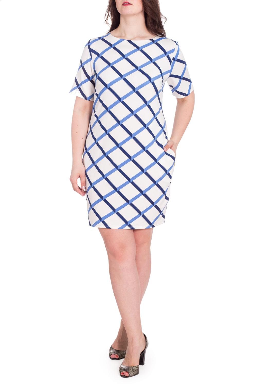 ПлатьеПлатья<br>Цветное платье с круглой горловиной и короткими рукавами. Модель выполнена из приятного материала. Отличный выбор для любого случая.В изделии использованы цвета: белый, синийРост девушки-фотомодели 180 см<br><br>Горловина: С- горловина<br>Рукав: Короткий рукав<br>Длина: До колена<br>Материал: Вискоза,Трикотаж<br>Рисунок: В клетку,С принтом,Цветные<br>Сезон: Лето<br>Силуэт: Полуприталенные<br>Стиль: Кэжуал,Летний стиль,Повседневный стиль<br>Размер : 54<br>Материал: Трикотаж<br>Количество в наличии: 1