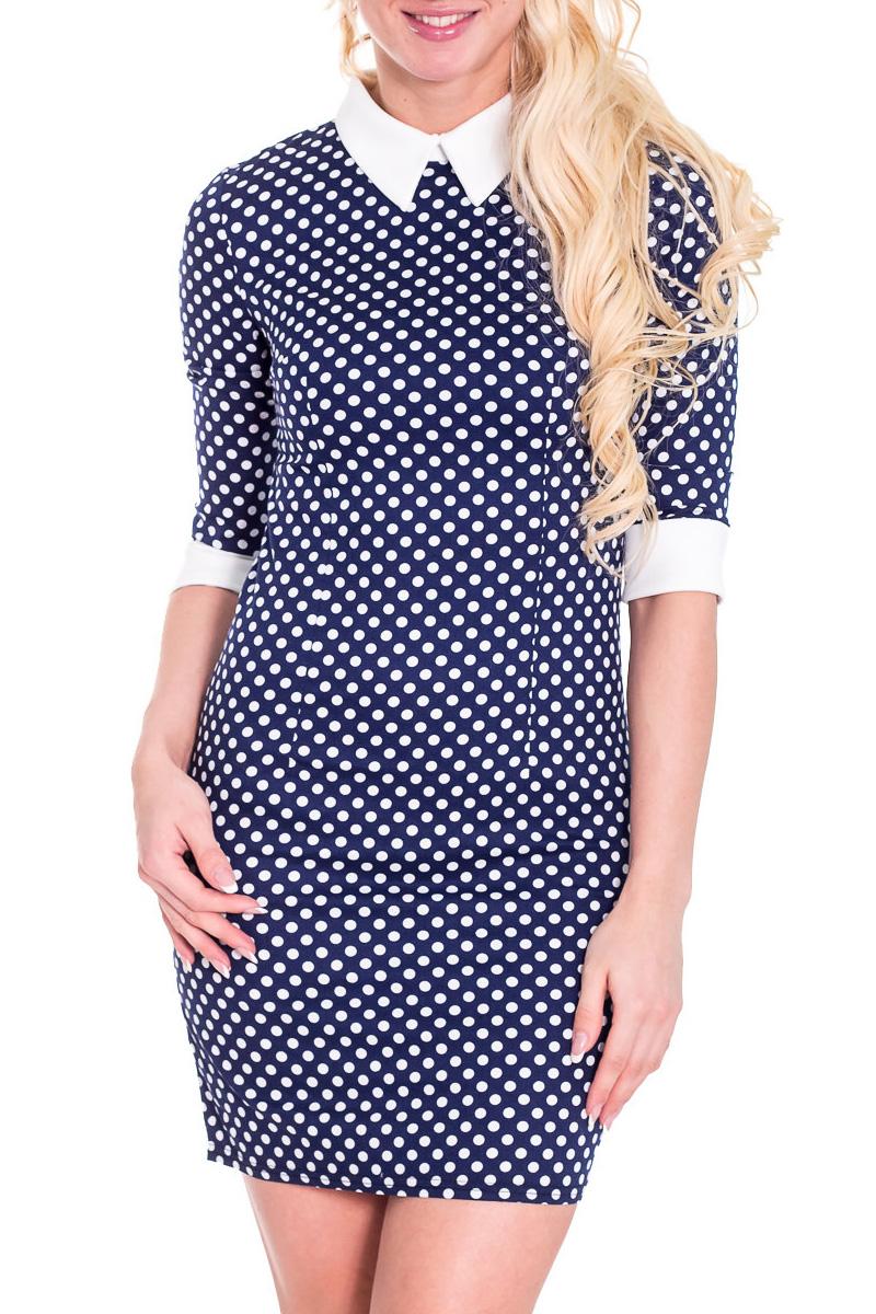 ПлатьеПлатья<br>Хорошенькое платье в винтажном стиле. Модель выполнена из приятного материала. Отличный выбор для любого случая.  Просим учесть, что изделие маломерит на один размер.  Цвет: синий, белый  Рост девушки-фотомодели 170 см.<br><br>По образу: Город,Свидание<br>По стилю: Винтаж,Повседневный стиль<br>По материалу: Вискоза,Костюмные ткани<br>По рисунку: В горошек,Цветные<br>По сезону: Весна,Осень<br>По силуэту: Полуприталенные<br>По элементам: С манжетами,С воротником,С заниженной талией<br>По длине: До колена<br>Воротник: Отложной<br>Рукав: Рукав три четверти<br>Размер: 42,44,46,48,50<br>Материал: 94% хлопок 6% эластан<br>Количество в наличии: 3