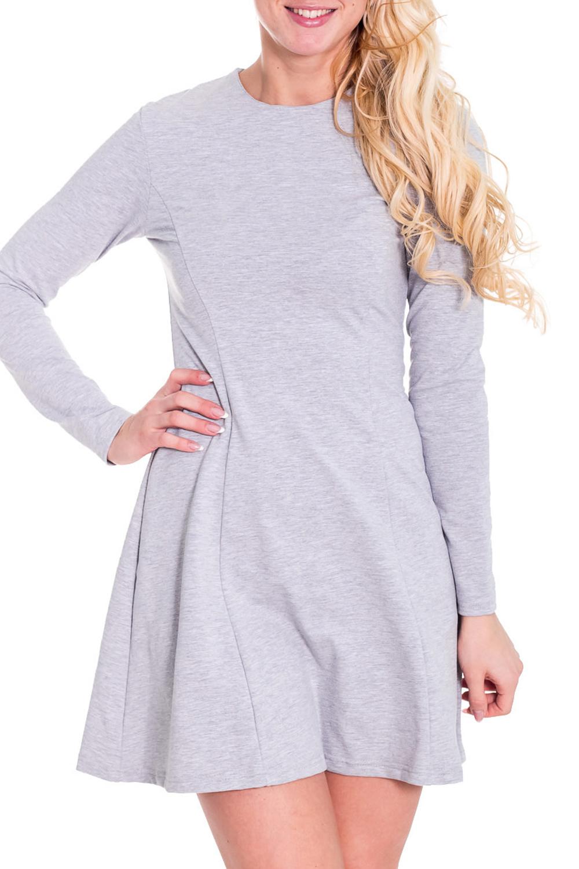 ПлатьеЛаконичное платье с круглой горловиной и длинными рукавами. Модель выполнена из приятного материала. Отличный выбор для повседневного гардероба.  Просим учесть, что изделие маломерит на один размер.  Цвет: серый  Рост девушки-фотомодели 170 см.<br><br>Горловина: С- горловина<br>По длине: До колена<br>По материалу: Вискоза,Трикотаж<br>По образу: Город,Офис,Свидание<br>По рисунку: Однотонные<br>По сезону: Весна,Осень<br>По стилю: Офисный стиль,Повседневный стиль,Классический стиль,Кэжуал<br>По форме: Платье - трапеция<br>Рукав: Длинный рукав<br>По силуэту: Приталенные<br>Размер : 42,44,48<br>Материал: Трикотаж<br>Количество в наличии: 3