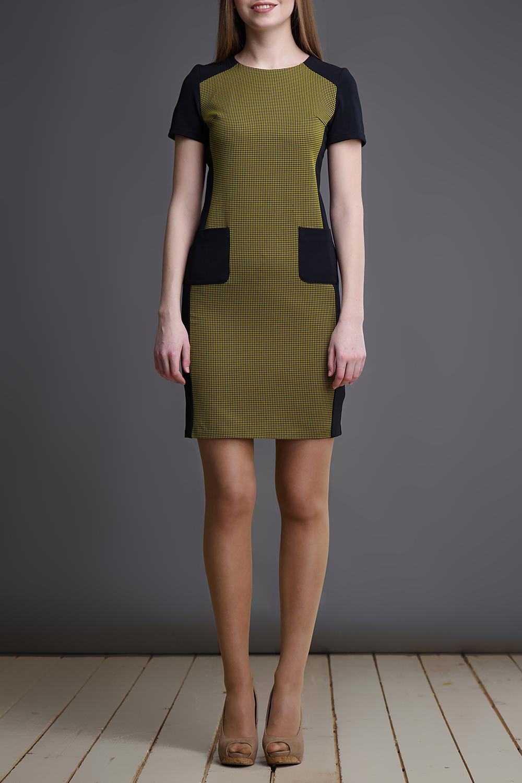 ПлатьеПлатья<br>Чудесное платье с круглой горловиной и короткими рукавами. Модель выполнена из приятного материала. Отличный выбор для любого случая.  В изделии использованы цвета: зеленый, черный  Длина изделия по спинке: 40 размер - 86 см. 42 размер - 87 см. 44 размер - 88 см. 46 размер - 89 см. 48 размер - 90 см.  Рост девушки-фотомодели 175 см.<br><br>Горловина: С- горловина<br>По длине: До колена<br>По материалу: Тканевые<br>По рисунку: С принтом,Цветные<br>По силуэту: Приталенные<br>По стилю: Повседневный стиль<br>По форме: Платье - футляр<br>По элементам: С карманами<br>Рукав: Короткий рукав<br>По сезону: Осень,Весна<br>Размер : 40,42,44,46,48<br>Материал: Плательная ткань<br>Количество в наличии: 5