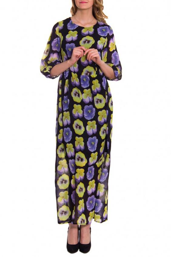 ПлатьеПлатья<br>Женское платье с круглой горловиной и рукавами 3/4. Модель выполнена из шелкового материала. Отличный выбор для любого случая.  Цвет: черный, зеленый, сиреневый  Рост девушки-фотомодели 176 см.<br><br>Горловина: С- горловина<br>По длине: Макси<br>По материалу: Шелк<br>По образу: Город,Свидание<br>По рисунку: Растительные мотивы,Цветные,Цветочные,С принтом<br>По сезону: Весна,Всесезон,Зима,Лето,Осень<br>По силуэту: Полуприталенные<br>Рукав: Рукав три четверти<br>По стилю: Повседневный стиль,Нарядный стиль<br>Размер : 42<br>Материал: Шелк<br>Количество в наличии: 1