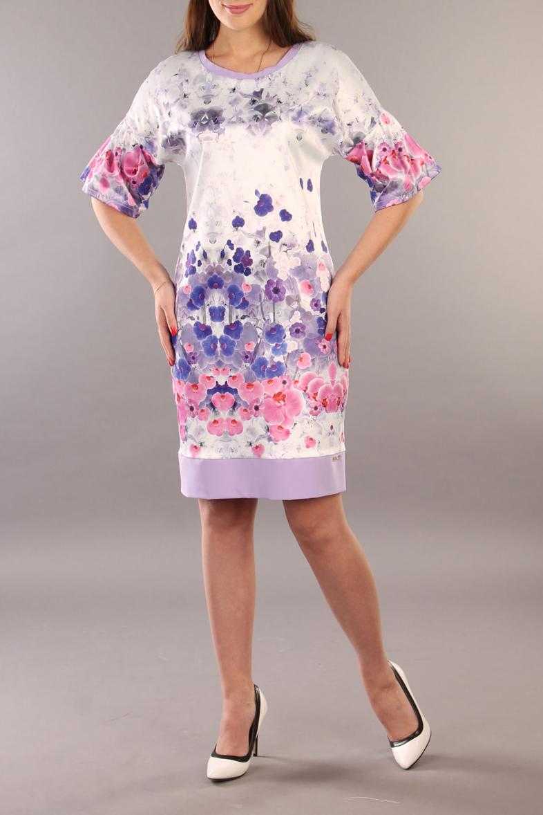 ПлатьеПлатья<br>Цветное платье с круглой горловиной и рукавами до локтя. Модель выполнена из гладкого атласа. Отличный выбор для повседневного гардероба.  В изделии использованы цвета: белый, сиреневый, розовый  Ростовка изделия 170 см.<br><br>Горловина: С- горловина<br>По длине: До колена<br>По материалу: Атлас,Тканевые<br>По рисунку: Растительные мотивы,С принтом,Цветные,Цветочные<br>По сезону: Весна,Зима,Лето,Осень,Всесезон<br>По силуэту: Полуприталенные<br>По стилю: Нарядный стиль,Повседневный стиль<br>По форме: Платье - футляр<br>По элементам: С разрезом<br>Разрез: Короткий<br>Рукав: До локтя<br>Размер : 48,52,54<br>Материал: Атлас<br>Количество в наличии: 3