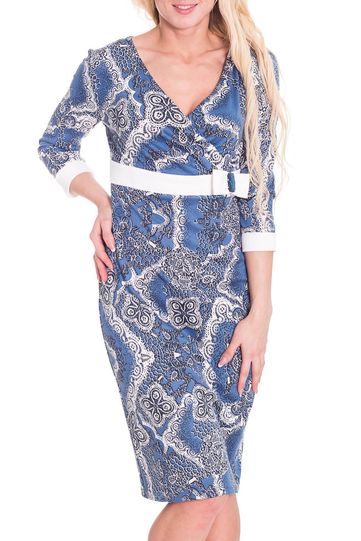 ПлатьеПлатья<br>Чудесное женское платье приталенного силуэта с контрастным декором. Рукава 3/4 с манжетами.  Цвет: голубой, серый, белый  Рост девушки-фотомодели 170 см<br><br>Горловина: V- горловина,Запах<br>По длине: До колена<br>По материалу: Вискоза,Трикотаж<br>По рисунку: Абстракция,Цветные,С принтом<br>По сезону: Весна,Осень,Зима<br>По силуэту: Приталенные<br>По стилю: Повседневный стиль<br>По форме: Платье - футляр<br>По элементам: С декором,С манжетами,С завышенной талией<br>Рукав: Рукав три четверти<br>Размер : 44<br>Материал: Трикотаж<br>Количество в наличии: 1
