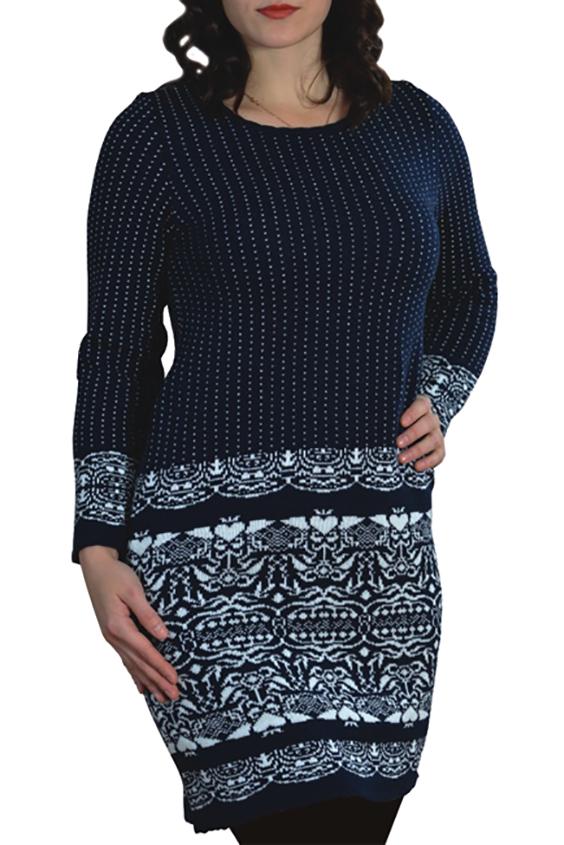 ПлатьеПлатья<br>Теплое платье с длинными рукавами. Вязаный трикотаж - это красота, тепло и комфорт. В вязаных вещах очень легко оставаться женственной и в то же время не замёрзнуть.  В изделии использованы цвета: темно-синий, белый.  Ростовка изделия 170 см<br><br>Горловина: С- горловина<br>По длине: До колена<br>По материалу: Вязаные,Трикотаж<br>По образу: Город,Свидание<br>По рисунку: С принтом,Цветные<br>По силуэту: Приталенные<br>По стилю: Повседневный стиль<br>По форме: Платье - футляр<br>Рукав: Длинный рукав<br>По сезону: Зима<br>Размер : 44<br>Материал: Вязаное полотно<br>Количество в наличии: 3