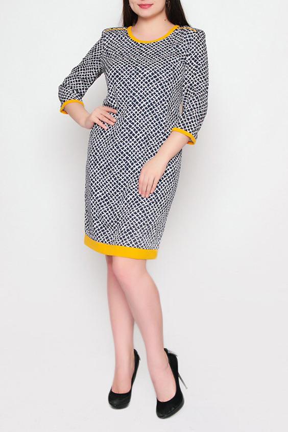 ПлатьеПлатья<br>Прелестное платье полуприталенного силуэта с круглой горловиной и рукавами 3/4. Модель выполнена из приятного материала. Отличный выбор для повседневного гардероба.  Цвет: синий, белый, желтый  Ростовка изделия 170 см.<br><br>Горловина: С- горловина<br>По длине: До колена<br>По материалу: Шелк<br>По образу: Город,Свидание<br>По рисунку: С принтом,Цветные<br>По силуэту: Полуприталенные<br>По стилю: Повседневный стиль<br>По форме: Платье - футляр<br>Рукав: Рукав три четверти<br>По сезону: Осень,Весна,Зима<br>Размер : 52<br>Материал: Искусственный шелк<br>Количество в наличии: 1