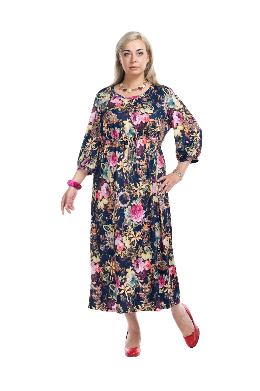 ПлатьеПлатья<br>Красивое платье с круглой горловиной. Модель выполнена из приятного трикотажа. Отличный выбор для любого случая.  Цвет: синий, розовый, бежевый  Рост девушки-фотомодели 173 см.<br><br>Горловина: С- горловина<br>По длине: Миди<br>По материалу: Трикотаж<br>По образу: Город,Свидание<br>По рисунку: Растительные мотивы,Цветные,Цветочные,С принтом<br>По сезону: Весна,Всесезон,Осень<br>По силуэту: Полуприталенные<br>По стилю: Повседневный стиль<br>По форме: Платье - трапеция<br>Рукав: Рукав три четверти<br>По элементам: С завышенной талией<br>Размер : 56<br>Материал: Холодное масло<br>Количество в наличии: 1