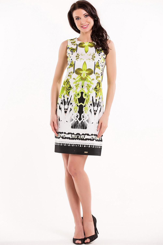 ПлатьеПлатья<br>Женское платье без рукавов с круглой горловиной. Модель выполнена из хлопковой ткани с принтом. Отличный выбор для повседневного гардероба  Цвет: белый, зеленый, черный  Рост девушки-фотомодели 168 см.<br><br>Горловина: С- горловина<br>По длине: До колена<br>По материалу: Тканевые,Хлопок<br>По образу: Город,Свидание<br>По рисунку: Абстракция,С принтом,Цветные<br>По силуэту: Полуприталенные<br>По стилю: Повседневный стиль<br>По форме: Платье - трапеция<br>Рукав: Без рукавов<br>По сезону: Лето<br>Размер : 44,46,48,50<br>Материал: Плательная ткань<br>Количество в наличии: 7