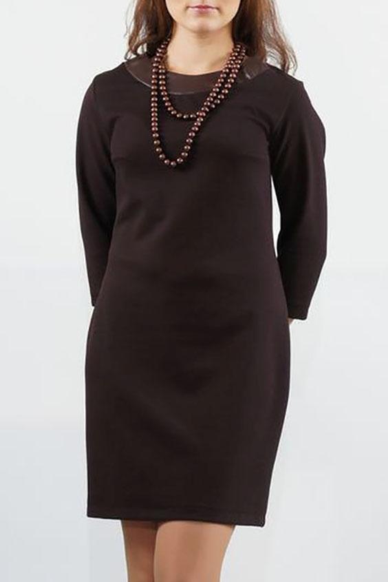 ПлатьеПлатья<br>Трикотажное платье прилегающего силуэта с отделкой из кожи. Перед с нагрудной вытачкой из бокового шва. Спинка с продольной вставкой из кожи вдоль среднего шва. Горловина округлая с двойными кокетками из кожи по спинке и переду. Рукава втачные, умеренной ширины, длиной 3/4.  Длина изделия:  до 48 размера - 88,0 см; 50-56 размера – 95,0 см.  Цвет: коричневый  Ростовка изделия 170 см.<br><br>Горловина: С- горловина<br>По длине: До колена<br>По материалу: Вискоза,Трикотаж<br>По рисунку: Однотонные<br>По силуэту: Приталенные<br>По стилю: Повседневный стиль<br>По форме: Платье - футляр<br>По элементам: С открытой спиной,С декором,С кожаными вставками<br>Рукав: Рукав три четверти<br>По сезону: Осень,Весна,Зима<br>Размер : 46,48,50,54,56<br>Материал: Трикотаж + Искусственная кожа<br>Количество в наличии: 5