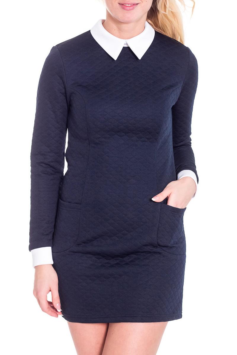 ПлатьеПлатья<br>Хорошенькое платье с контрастным воротничком и манжетами. Модель выполнена из фактурного трикотажа. Отличный выбор для любого случая. Платье дополнено поясом.  Просим учесть, что изделие маломерит на один размер.  Цвет: синий, белый  Рост девушки-фотомодели 170 см.<br><br>По образу: Офис,Свидание,Город<br>По стилю: Винтаж,Офисный стиль,Повседневный стиль<br>По материалу: Костюмные ткани<br>По рисунку: Однотонные<br>По сезону: Весна,Осень<br>По силуэту: Полуприталенные<br>По элементам: С воротником,С манжетами<br>По форме: Платье - футляр<br>По длине: Мини<br>Воротник: Отложной,Рубашечный<br>Рукав: Длинный рукав<br>Размер: 42,44,46,48<br>Материал: 94% полиэстер 6% эластан<br>Количество в наличии: 2